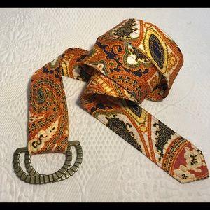 J. CREW paisley print silk belt M/L